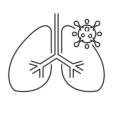 Simple linear icon of human lungs affected by coronavirus. Vector illustration with editable stroke.
