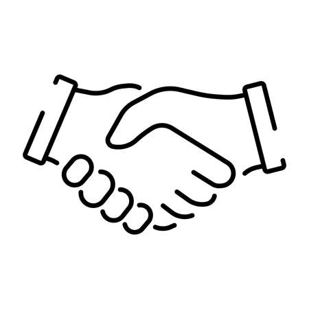 A simple linear icon representing a handshake. Vector illustration with editable stroke. 免版税图像 - 151340776