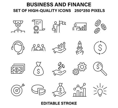 A set of Simple but high-quality linear icons for business and Finance. Vector illustrations with editable stroke.