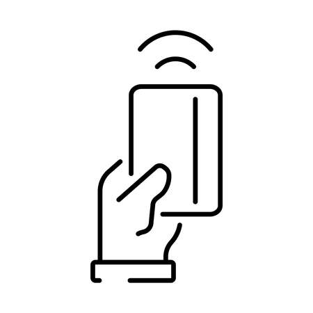 Simple linear icon for contactless card payment.
