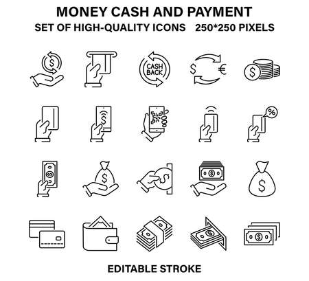 A set of simple but high quality linear icons illustrating money cash and payment.