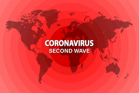 World map with an illustration of the spread of the second wave of coronavirus. Vector illustration.