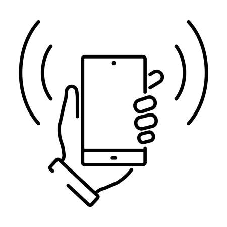 Simple linear icon for smartphone payment or touch payment. 矢量图像