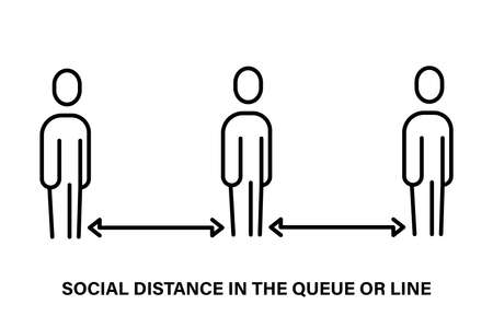 A simple linear icon of the social distance in the queue 免版税图像 - 159243046