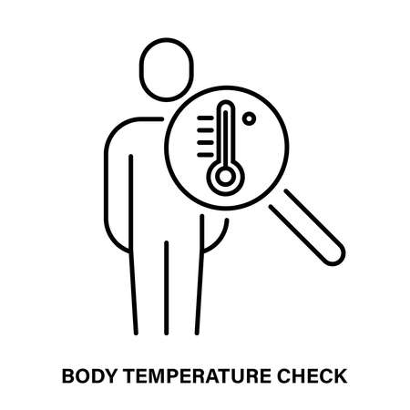 Simple linear icon for checking body temperature 矢量图像