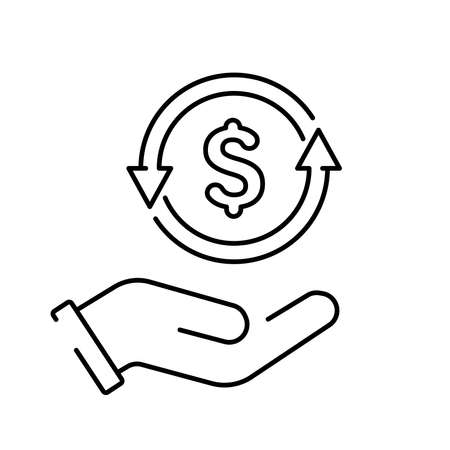A simple linear cashback or money back icon 矢量图像