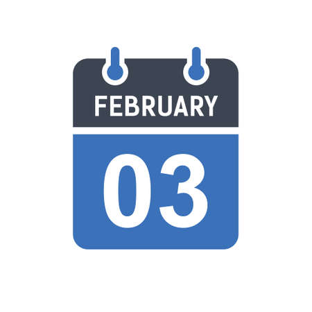 February 3. Calendar icon. Vector illustration flat style. Date, Day of month, Spiral calendar page with date, Holidays in February.