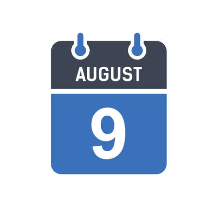 August 9. Calendar icon. Vector illustration flat style. Date, Day of month, Spiral calendar page with date, Holidays in August.