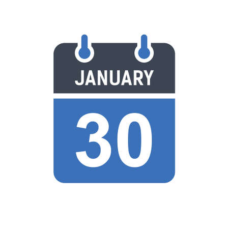 January 30. Calendar icon. Vector illustration flat style. Date, Day of month, Spiral calendar page with date, Holidays in January.