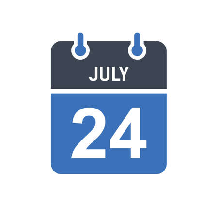 July 24. Calendar icon. Vector illustration flat style. Date, Day of month, Spiral calendar page with date, Holidays in July.