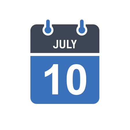 July 10. Calendar icon. Vector illustration flat style. Date, Day of month, Spiral calendar page with date, Holidays in July.
