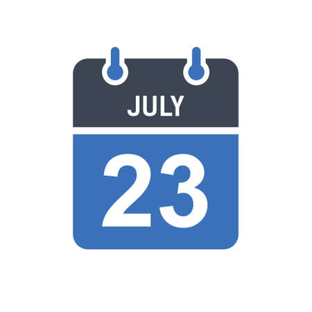 July 23. Calendar icon. Vector illustration flat style. Date, Day of month, Spiral calendar page with date, Holidays in July.