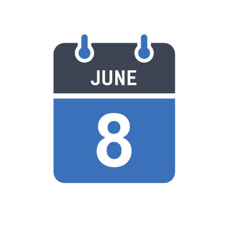 June 8. Calendar icon. Vector illustration flat style. Date, Day of month, Spiral calendar page with date, Holidays in June.