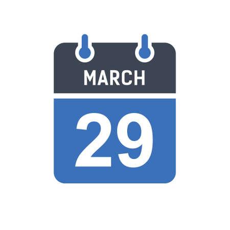 March 29. Calendar icon. Vector illustration flat style. Date, Day of month, Spiral calendar page with date, Holidays in March.