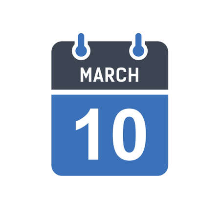 March 10. Calendar icon. Vector illustration flat style. Date, Day of month, Spiral calendar page with date, Holidays in March.