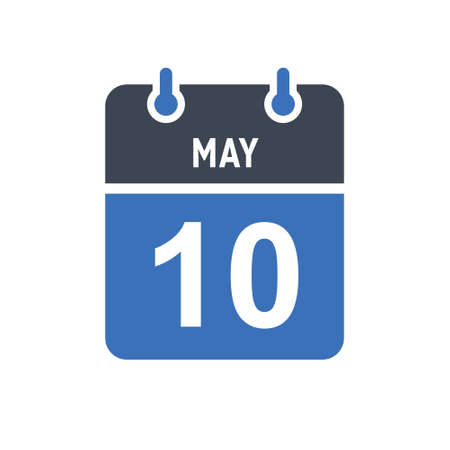 May 10. Calendar icon. Vector illustration flat style. Date, Day of month, Spiral calendar page with date, Holidays in May.