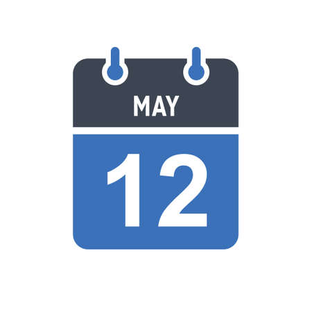 May 12. Calendar icon. Vector illustration flat style. Date, Day of month, Spiral calendar page with date, Holidays in May.