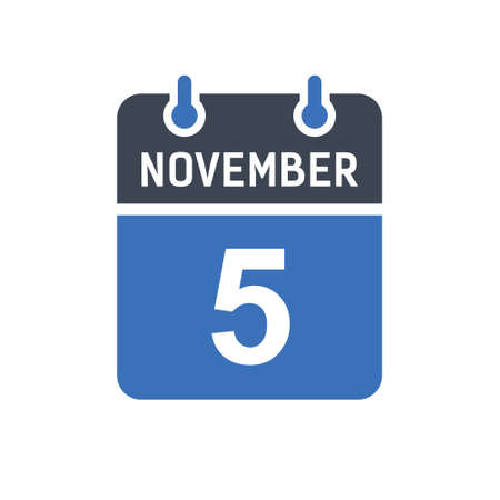 November 5. Calendar icon. Vector illustration flat style. Date, Day of month, Spiral calendar page with date, Holidays in November.
