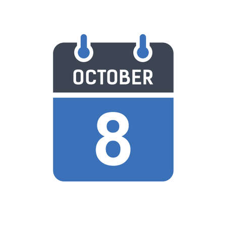 October 8. Calendar icon. Vector illustration flat style. Date, Day of month, Spiral calendar page with date, Holidays in October.