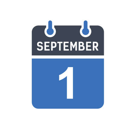 September 1. Calendar icon. Vector illustration flat style. Date, Day of month, Spiral calendar page with date, Holidays in September.