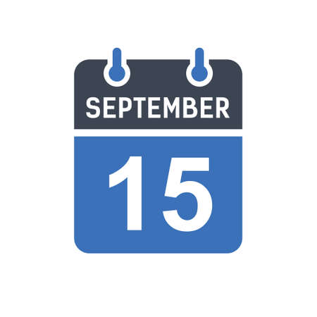 September 15. Calendar icon. Vector illustration flat style. Date, Day of month, Spiral calendar page with date, Holidays in September.