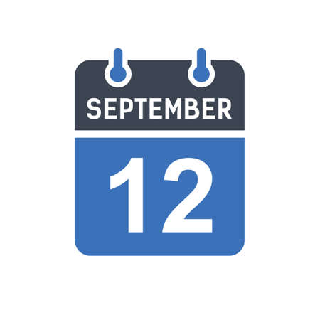 September 12. Calendar icon. Vector illustration flat style. Date, Day of month, Spiral calendar page with date, Holidays in September.