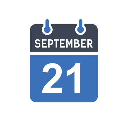 September 21. Calendar icon. Vector illustration flat style. Date, Day of month, Spiral calendar page with date, Holidays in September.