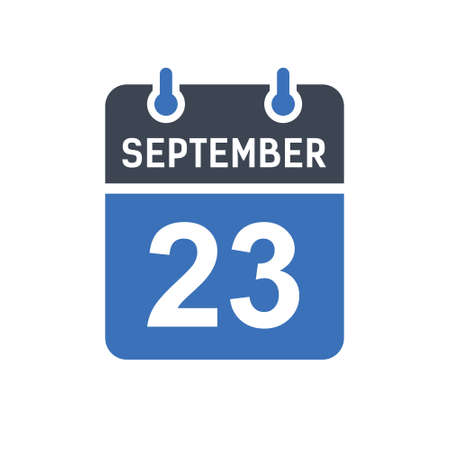 September 23. Calendar icon. Vector illustration flat style. Date, Day of month, Spiral calendar page with date, Holidays in September.