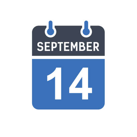 September 14. Calendar icon. Vector illustration flat style. Date, Day of month, Spiral calendar page with date, Holidays in September. Ilustrace