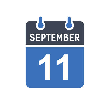 September 11. Calendar icon. Vector illustration flat style. Date, Day of month, Spiral calendar page with date, Holidays in September. Ilustrace