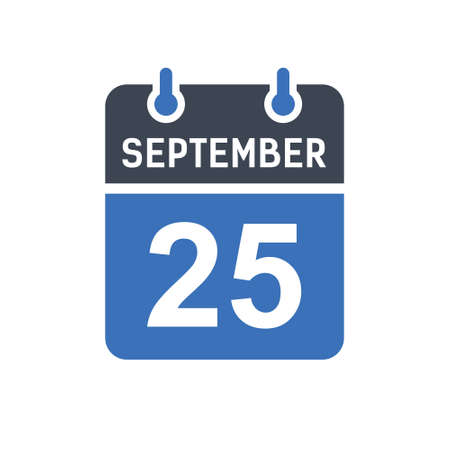 September 25. Calendar icon. Vector illustration flat style. Date, Day of month, Spiral calendar page with date, Holidays in September.
