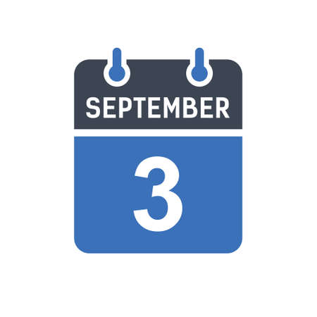 September 3. Calendar icon. Vector illustration flat style. Date, Day of month, Spiral calendar page with date, Holidays in September.