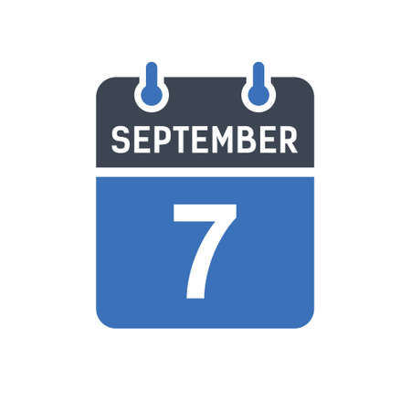 September 7. Calendar icon. Vector illustration flat style. Date, Day of month, Spiral calendar page with date, Holidays in September.