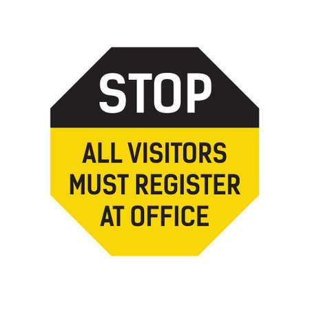 Stop All Visitors Must Register At Office Çizim