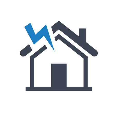 Home thunderstorm icon. vector graphics