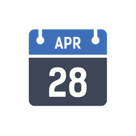 Calendar Date Icon - April 28 Vector Graphic