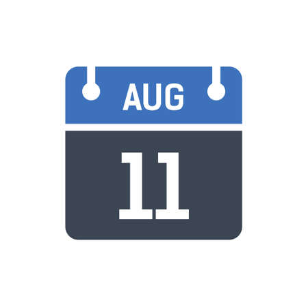 Calendar Date Icon - August 11 Vector Graphic