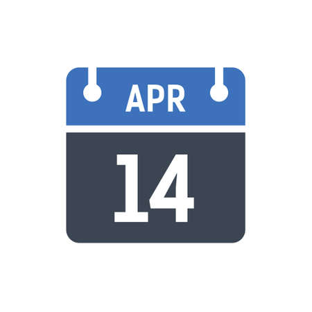 Calendar Date Icon - April 14 Vector Graphic