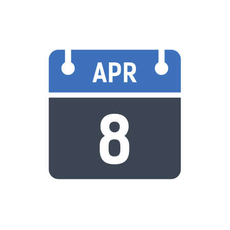 Calendar Date Icon - April 8 Vector Graphic