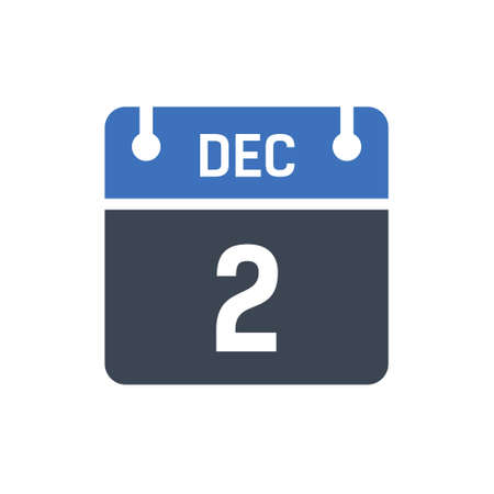 Calendar Date Icon - December 2 Vector Graphic