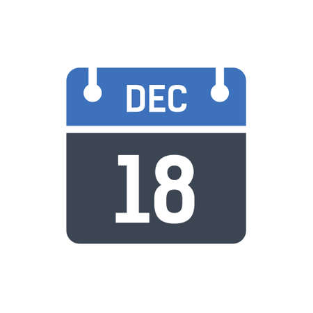Calendar Date Icon - December 18 Vector Graphic