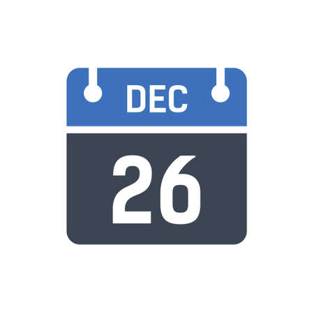 Calendar Date Icon - December 26 Vector Graphic