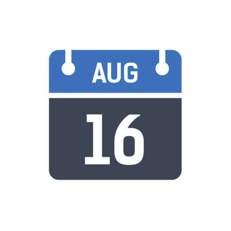 Calendar Date Icon - August 16 Vector Graphic