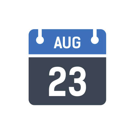 Calendar Date Icon - August 23 Vector Graphic