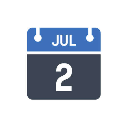 Calendar Date Icon - July 2 Vector Graphic