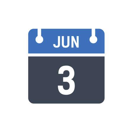 Calendar Date Icon - June 3 Vector Graphic Ilustración de vector