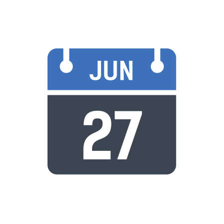 Calendar Date Icon - June 27 Vector Graphic