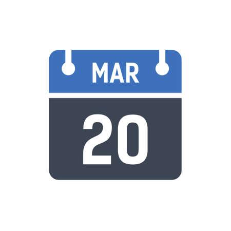 Calendar Date Icon - March 20 Vector Graphic Ilustración de vector