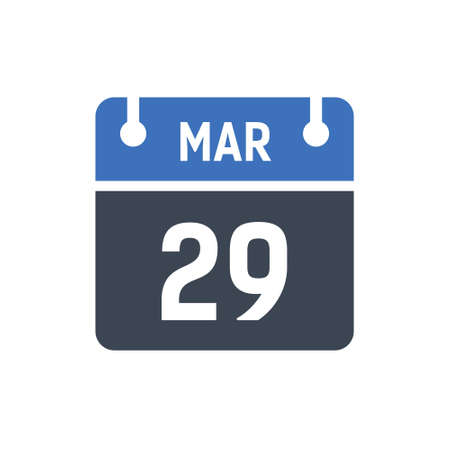 Calendar Date Icon - March 29 Vector Graphic Ilustración de vector