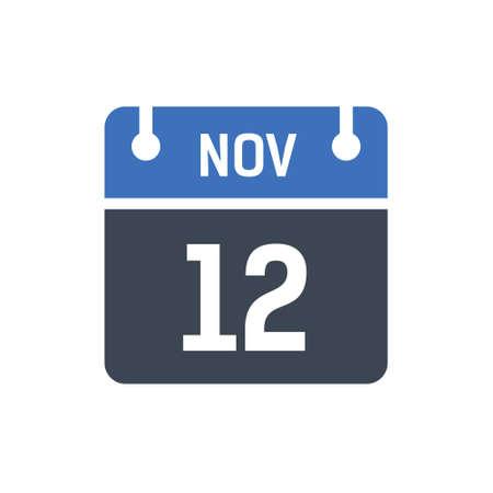 Calendar Date Icon - November 12 Vector Graphic